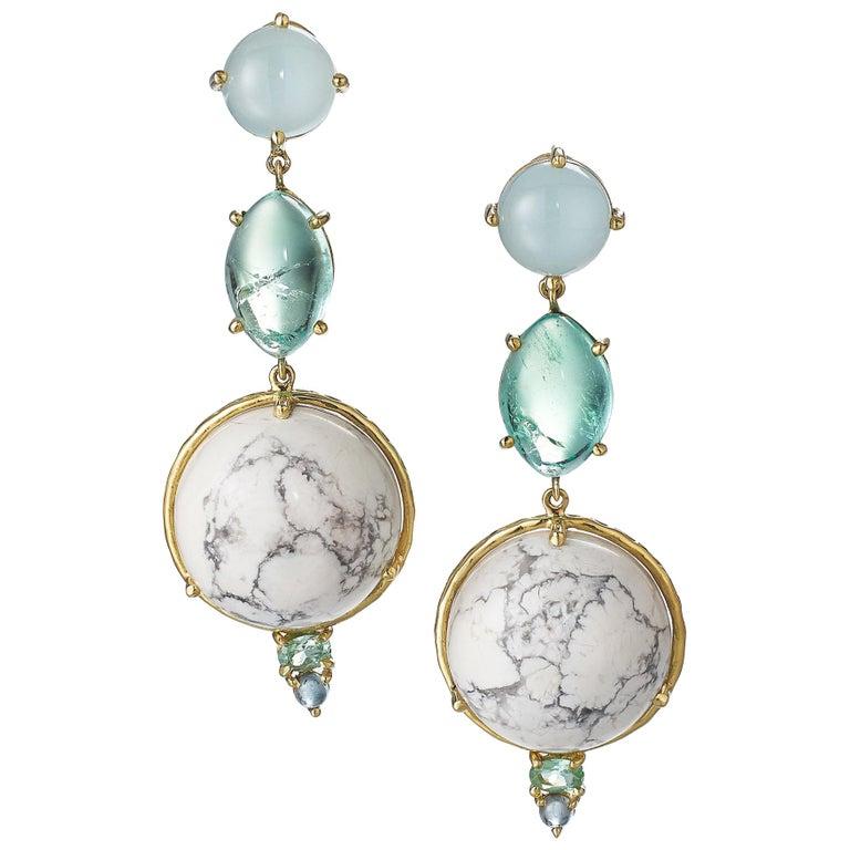 Daria de Koning Muzo Emerald, Aquamarine, White Howlite, Tourmaline Earrings For Sale