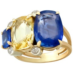 12.61 Carat Sapphire Diamond Yellow Gold Cocktail Ring