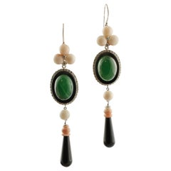 Diamonds, Pink Coral, Green Agate, Onyx, 14K White Gold Dangle Earrings