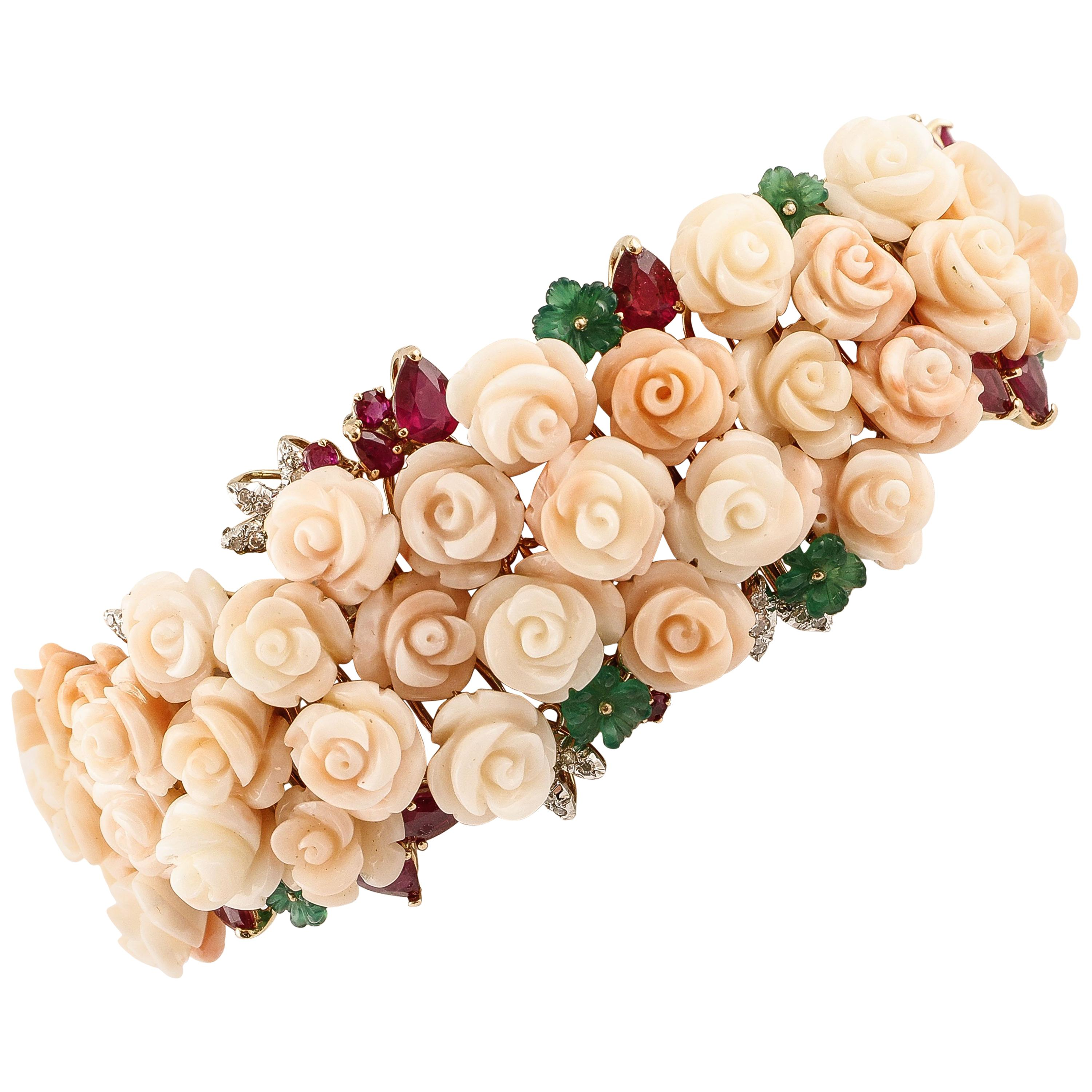 Diamonds, Green Agate, Rubies,Pink Coral Roses,Rose and White Gold Bracelet