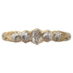 Diamond Yellow Gold Five-Stone Ring, Antique, 1911