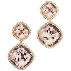 18 Karat Rose Gold Morganites 33.49 Carat Diamond Entourage 0.69 Carat Earrings