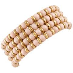 Angel Skin Pink Coral Spheres, 18 Karat Yellow Gold Beaded Link Bracelet