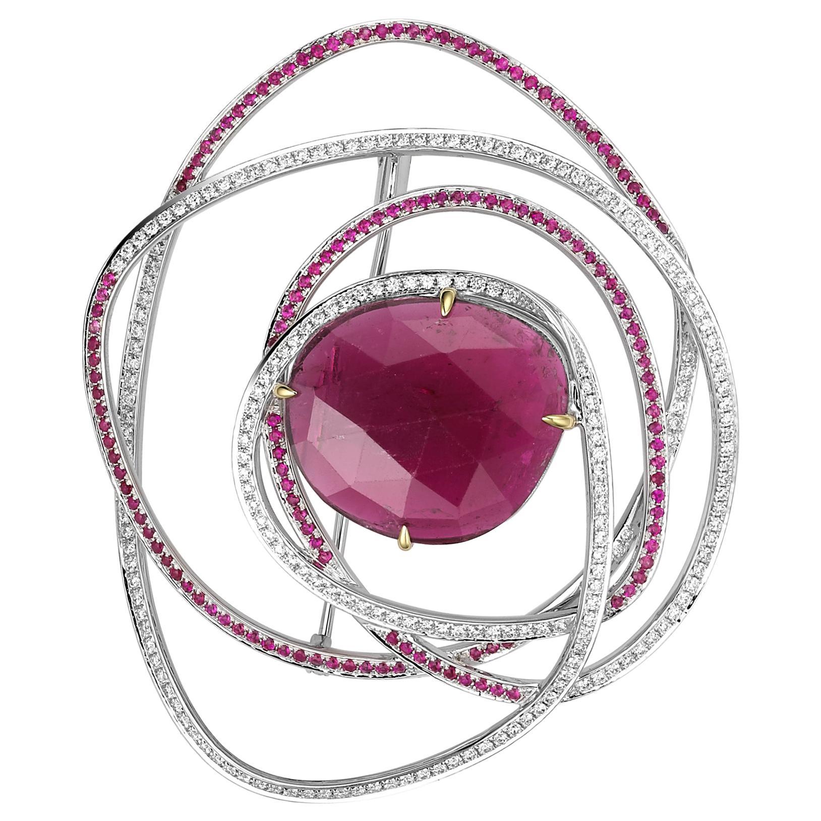 Fei Liu Rubellite Diamond Pink Sapphire 18 Karat White Gold Modern Rose Brooch