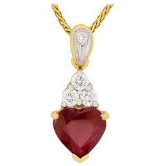 Vintage Heart Ruby and Diamond Pendant, circa 1970s