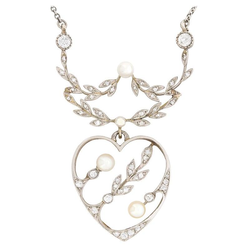 Art Deco Diamond and Pearl Necklace, circa 1920s