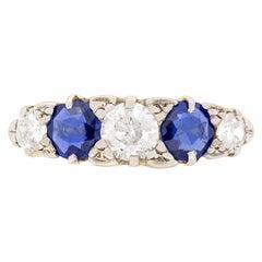 Edwardian Diamond and Sapphire Five-Stone Ring, circa 1910