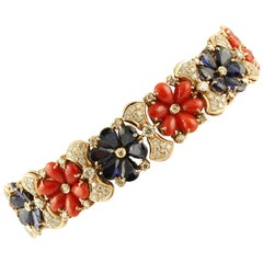 Diamonds, Blue Sapphires, Red Corals Rose Gold Link Retrò Bracelet