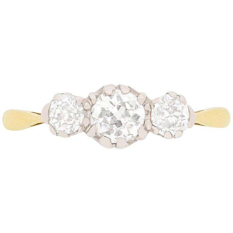 Edwardian 1.00 Carat Three-Stone Diamond Ring, circa 1910