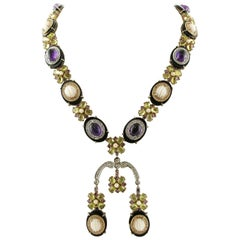 Diamonds,Peridots,Amethysts,Engraved Pink Corals, Onyx, White/Rose Gold Necklace
