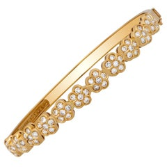 Van Cleef & Arpels 18 Karat Yellow Gold Diamond Trefle Bracelet