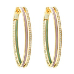 18 Karat Rose Gold and 1.25 Carat Spectrum Enamel Duo Hoops by Alessa Jewelry