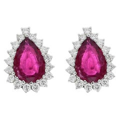 7.00 Carat Total Pear Shape Rubellite and Diamond Stud Earrings in Platinum