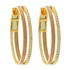18 Karat Rose Gold and 1.23 Carat Spectrum Enamel Duo Hoops by Alessa Jewelry