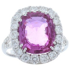 GIC Certified 6.06 Carat Cushion Pink Sapphire & Diamond Cocktail Ring In 18K