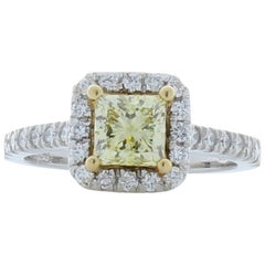 GIA Certified 1.06 Carat Princess Cut Fancy Yellow Diamond Cocktail Ring in 18K