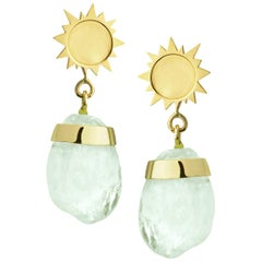 18ct Yellow Gold and Aquamarine 'Sun Drop' Pebble Earrings