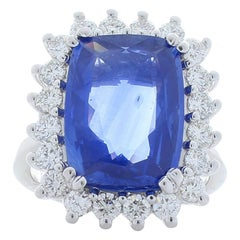 8.70 Carat Cushion Sapphire and Diamond Cocktail Ring in 18 Karat White Gold