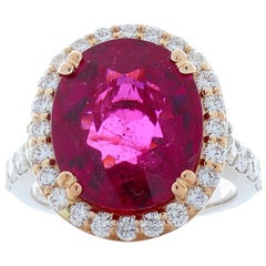 7.19 Carat Cushion Cut Rubellite & Diamond Cocktail Ring In 18K White Gold