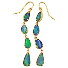 4-Tier Australian Boulder Opal Gold Dangle Earrings