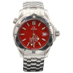 Men's Omega Seamaster Steel Watch, Red Dial