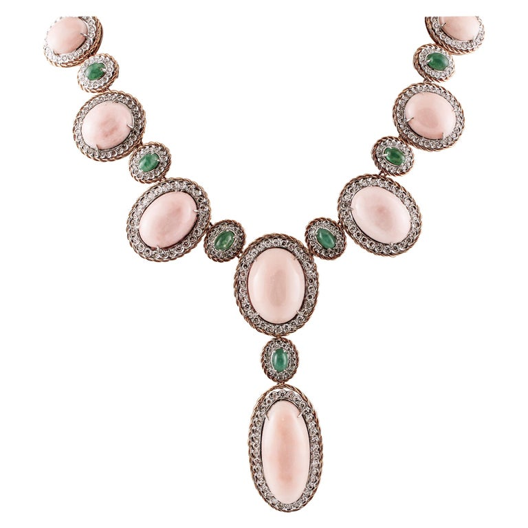 Oval Shape Pink Coral, Diamonds, Emeralds, Rose White Gold Necklace For Sale