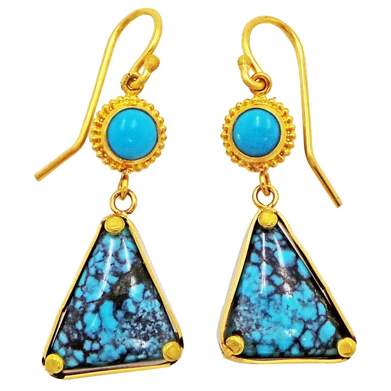 Turquoise and 22k Yellow Gold Dangle Earrings For Sale
