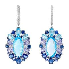 14 Karat White Gold Blue Topaz, Tanzanite, Sapphire and Diamond Earrings