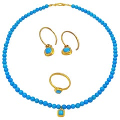 Sleeping Beauty Turquoise and Gold Necklace, Ring and Earrings Set