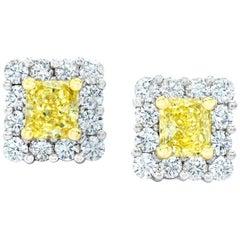 1.08 Carat Natural Fancy Yellow Diamond Platinum and 18 Karat Gold Earrings