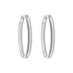 18 Karat White Gold and 1.25 Carat Spectrum Enamel Duo Hoops by Alessa Jewelry