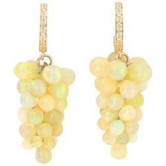 26.20 Carat Opal Briolette and Diamond Grapevine Dangle Earrings