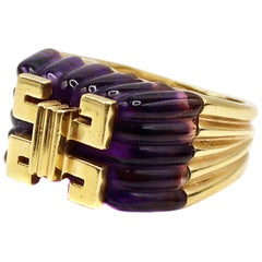 Carved Amethyst Gold Statement Ring