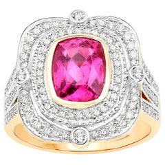 1.94 Carat Rubelite Diamond 14 Karat Yellow Gold Cocktail Ring