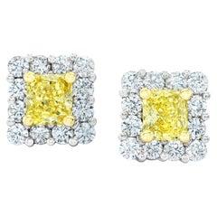 1.17 Carat Natural Fancy Yellow Diamond Platinum and 18 Karat Gold Earrings