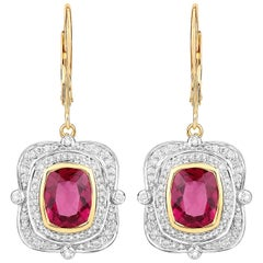 3.88 Carat Rubelite Diamond 14 Karat Yellow Gold Lever-Back Earrings