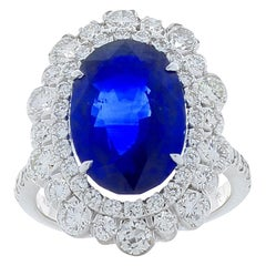 7.06 Carat Oval Blue Sapphire and Diamond Cocktail Ring in 18 Karat White Gold