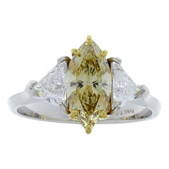 GIA Certified 1.08 Carat Fancy Brownish Yellow Diamond Cocktail Ring in Platinum