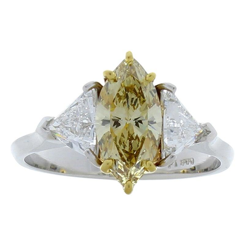 GIA Certified 1.08 Carat Fancy Brownish Yellow Diamond Cocktail Ring in Platinum