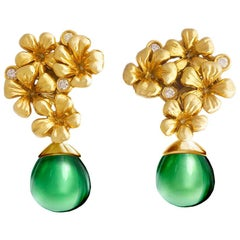 18 Karat Yellow Gold Plum Flowers Earrings by the Artist with Diamonds