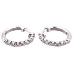 14 Karat White Gold Diamond Huggie Hoop Earrings