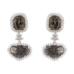 2.99 Carat Total Faceted Fancy Sliced Black Diamond Earrings in 18 Karat Gold