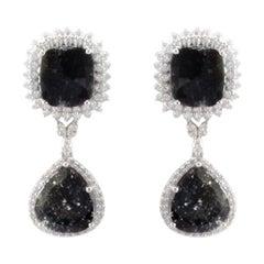 6.45 Carat Total Faceted Fancy Sliced Black Diamond Earrings in 18 Karat Gold