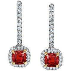 1.07 Carat Ruby and Diamond Halo Drop Earrings