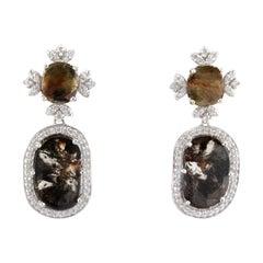 5.28 Carat Total Faceted Fancy Sliced Brown Diamond Earrings in 18 Karat Gold