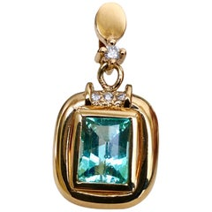 Estate Natural Colombian Emerald Diamond Pendant 18 Karat
