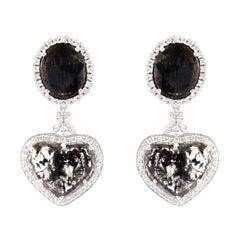7.30 Carat Total Faceted Fancy Sliced Black Diamond Earrings in 18 Karat Gold