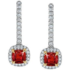 1.09 Carat Ruby and Diamond Halo Drop Earrings