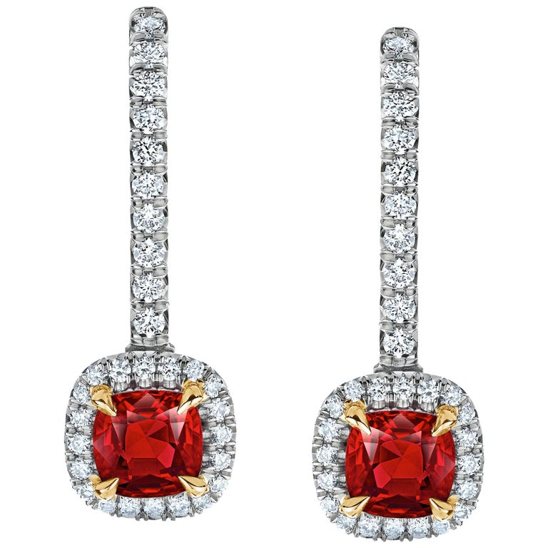 1.09 Carat Ruby and Diamond Halo Drop Earrings For Sale