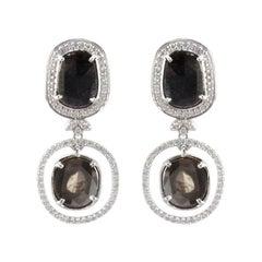4.21 Carat Total Faceted Fancy Sliced Black Diamond Earrings in 18 Karat Gold